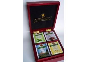 Дървена кутия с 4 вида чай
