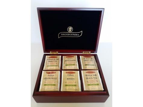 Дървена кутия с 6 вида чай